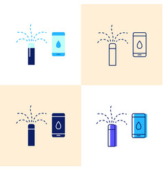 smart sprinkler icon set in flat and line styles vector image