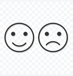 smiley happy and sad icon on transparent vector image