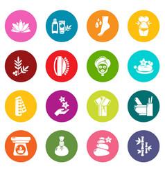 spa salon icons set colorful circles vector image