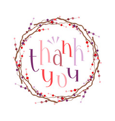 thank you lettering with wreath vector image