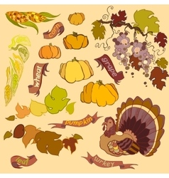 Thanksgiving elements set isolated on light vector