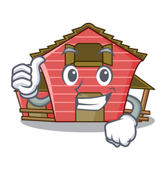 Thumbs up a red barn house character cartoon vector