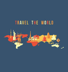 travel the world paper cut landmark map design vector image