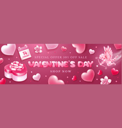 valentines day sale banner with cupid and hearts vector image