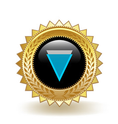 Verge cryptocurrency coin gold badge vector