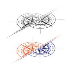 windrose two halves symbols set vector image