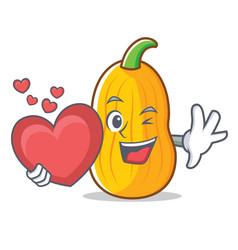 With heart butternut squash mascot cartoon vector