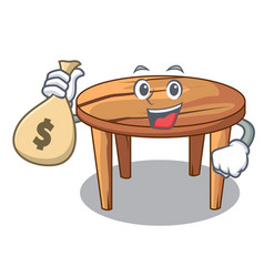 with money bag character wooden table in the vector image