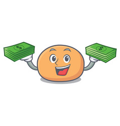 with money bag mochi mascot cartoon style vector image
