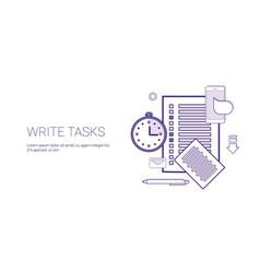 write tasks planning business concept banner vector image