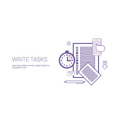write tasks planning business concept banner with vector image