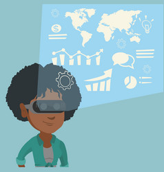 Young woman in vr headset analyzing virtual data vector