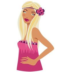 BlondeWomanInPinkWithFlower vector image