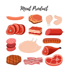 cartoon flat meat products butcher shop vector image