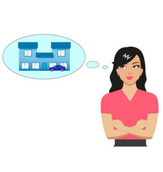 cartoon girl dreaming of a house and a car vector image