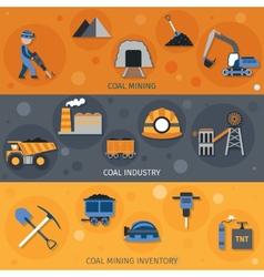 Coal industry banners vector