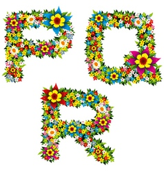 flower and bush letters 06 vector image vector image