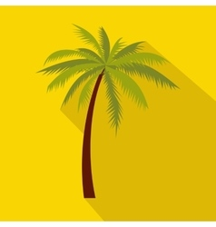 Green palm tree icon flat style vector image vector image