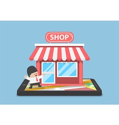Online store on mobile phone vector image