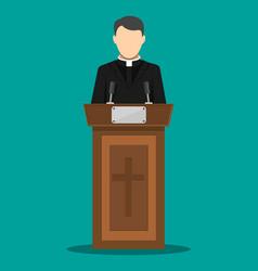 priest giving speech from tribune vector image