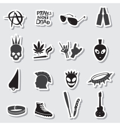 various black punk stickers set eps10 vector image