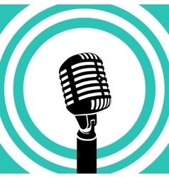 Vintage microphone Black silhouette vector image
