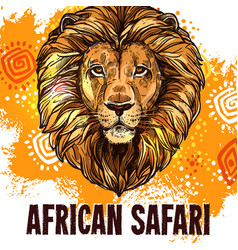 african lion poster safari hunting poster vector image vector image