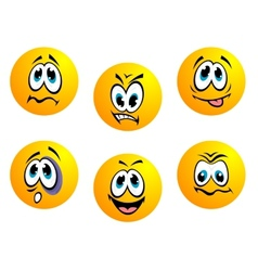Collection of yellow emoticons vector image