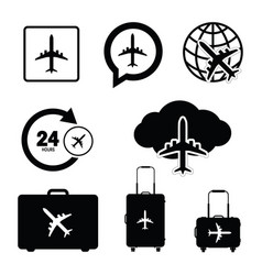 flying icon set travel in black color vector image