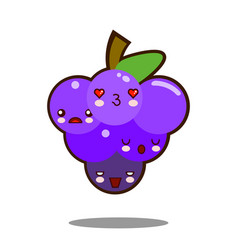 grapes fruit cartoon character icon kawaii flat vector image