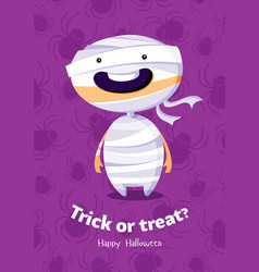 halloween poster trick or treat with mummy on vector image