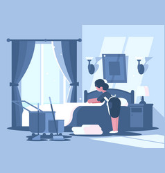 maid cleaning in hotel room vector image