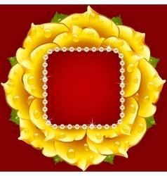 yellow Rose circle frame vector image vector image