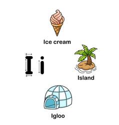 alphabet letter i-ice cream island igloo vector image vector image