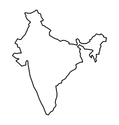 Black contour map of India vector image