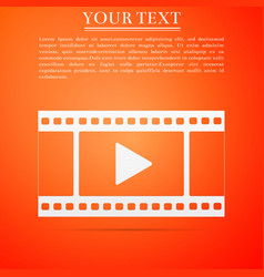 play video icon isolated on orange background vector image vector image