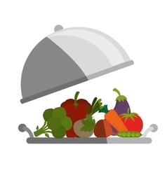 tray with healthy food isolated icon vector image vector image