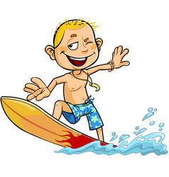 boy on the surfboard vector image