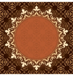 brown vintage background with gold frame vector image vector image