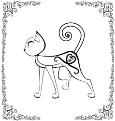 cat with tattoo vector image