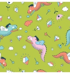 Cute seamless pattern Dragons and vector image