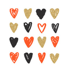 love doodle background with hearts vector image vector image