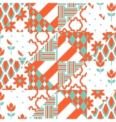 Red and green patchwork pattern vector image vector image