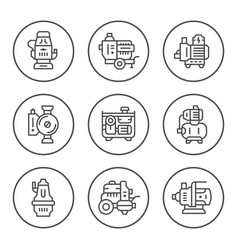 set round line icons of water pump vector image vector image