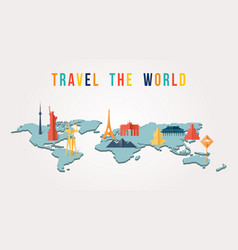 Travel the world paper cut monument map design vector