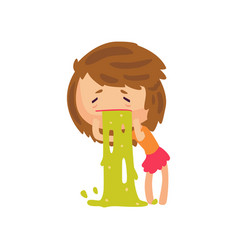 unhappy girl vomiting from food poisoning cartoon vector image vector image