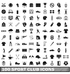 100 sport club icons set simple style vector image