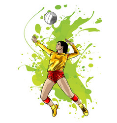 Abstract female volleyball player power vector