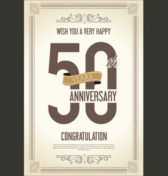 Anniversary retro vintage background 50 years vector
