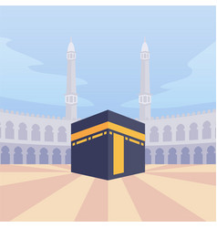 Arabian moslem kaba mecca with modern cartoon vector